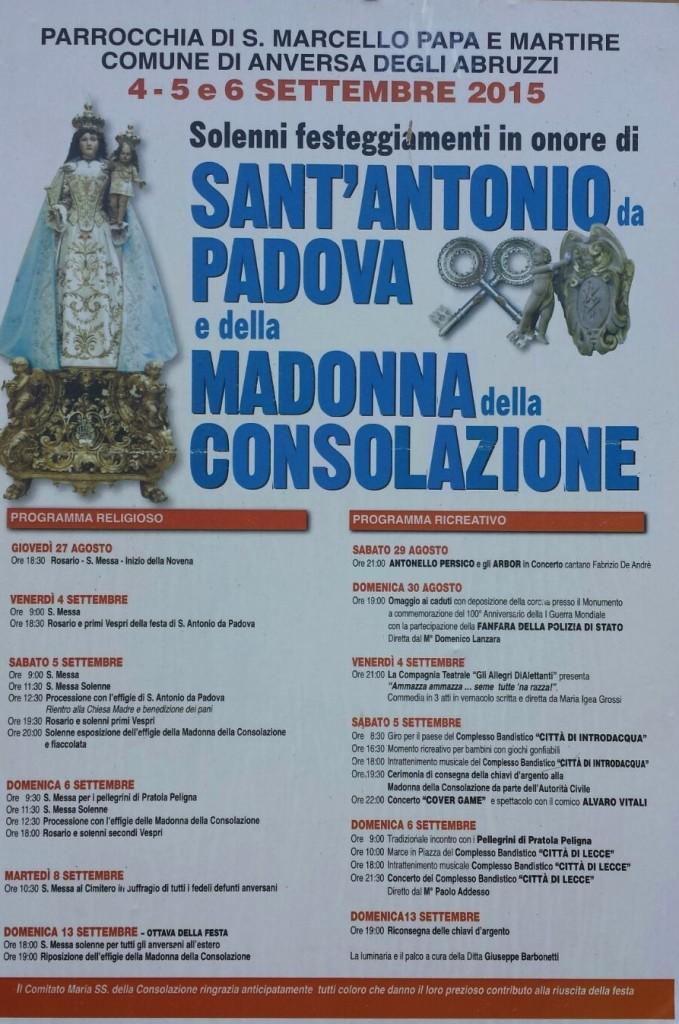 """Programma festa della """"Madonna della Consolazione"""" Anversa 2015"""